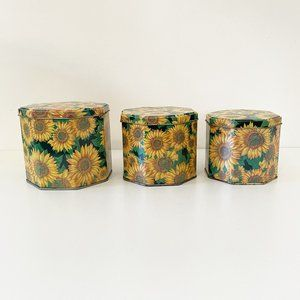 Vintage 90's Metal Sunflower Nesting Canisters